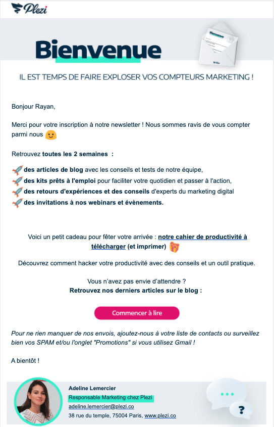 exemple du workflow de marketing automation de Plezi pour se présenter aux prospects