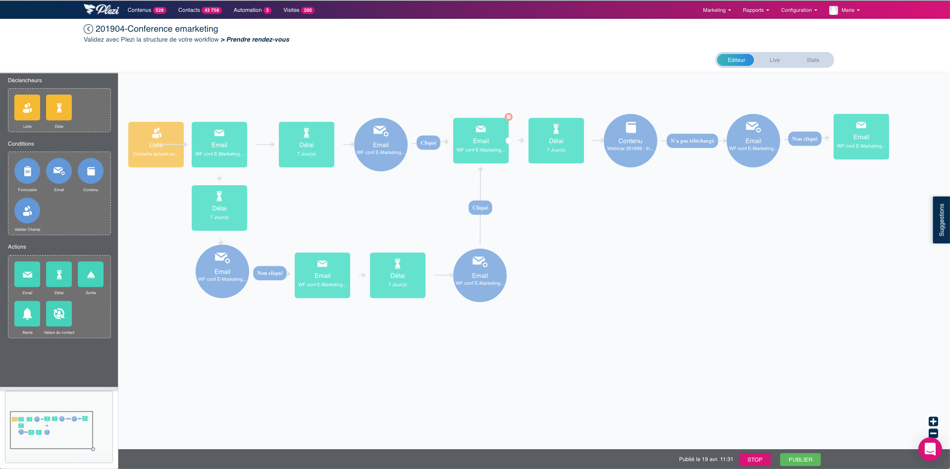 exemple d'un workflow de marketing automation créé dans Plezi