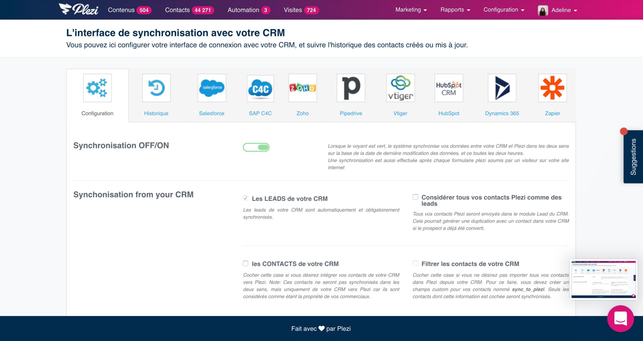 outils marketing utilisés par Lemonway et synchronisés avec Plezi