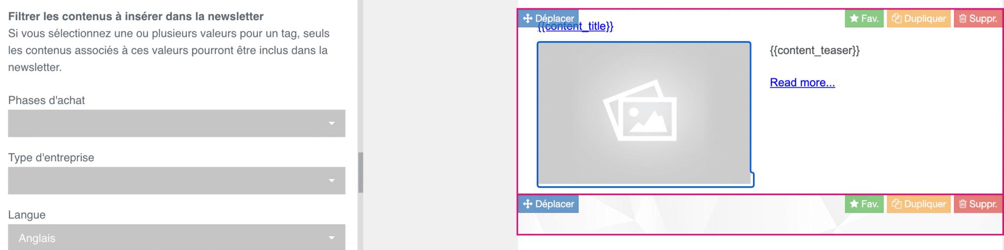 vue de la configuration du bloc intelligent de la newsletter automatisée de plezi