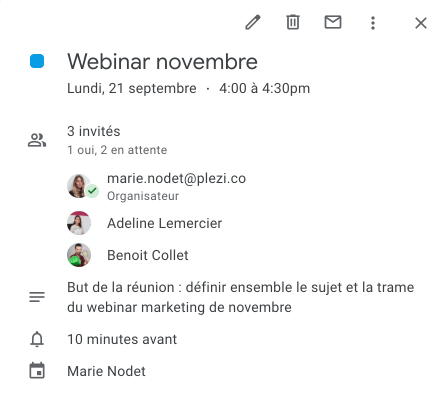 exemple d'invitation à une réunion