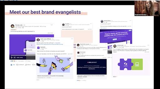 Posts sur les réseaux sociaux montrant la diffusion de la cutlure de marque Spendesk à travers des ambassadeurs