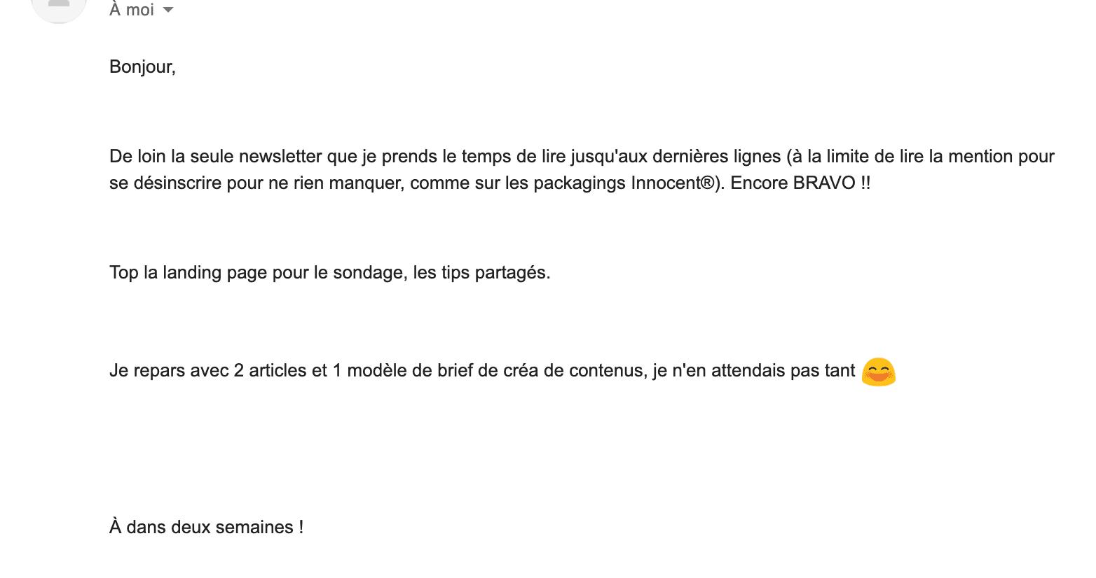 email reçu par un abonné à la newsletter b2b de Plezi témoignant sa fidélité