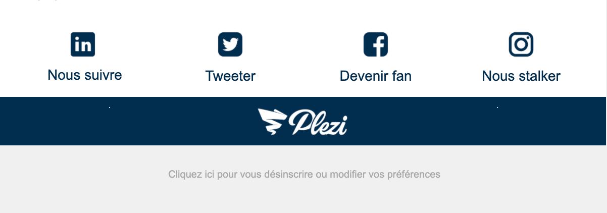 footer de la newsletter Plezi contenant les mentions légales relatives au RGPD