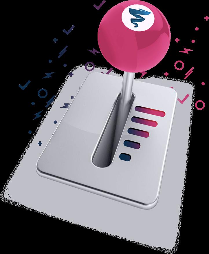 Image de boite de vitesse automatique représentant l'offre Iron de Plezi avec les campagnes intelligentes