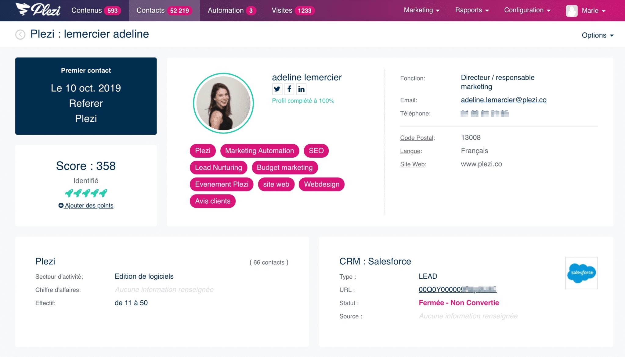 fiche d'un contact dans Plezi synchronisé avec Salesforce