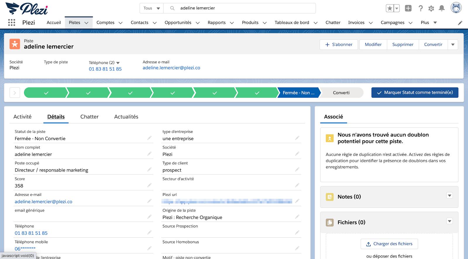 informations personnelles d'un lead dans la fiche d'une piste de Salesforce