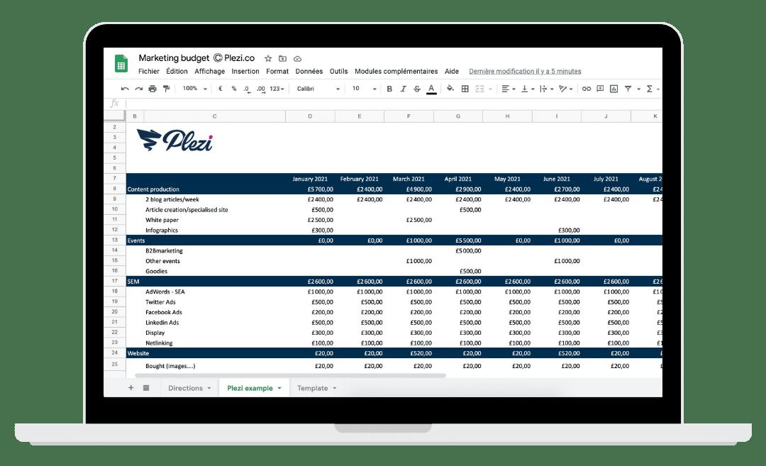Kit marketing budget screen