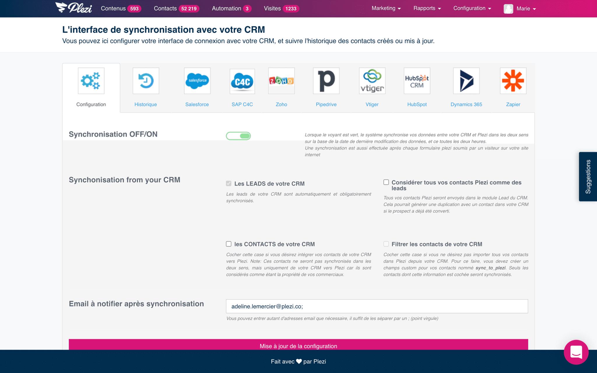 interface de l'intégration de plezi avec le CRM Salesforce