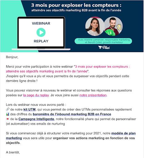 exemple d'un email contenant le replay d'un webinar B2B