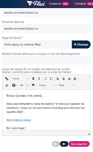 message envoyé suite à la soumission d'un formulaire pour recevoir le replay d'un webinar Plezi