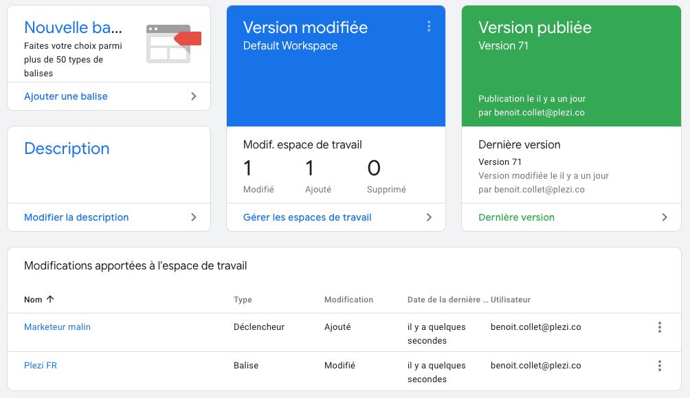 modifications des versions dans Google Tag Manager