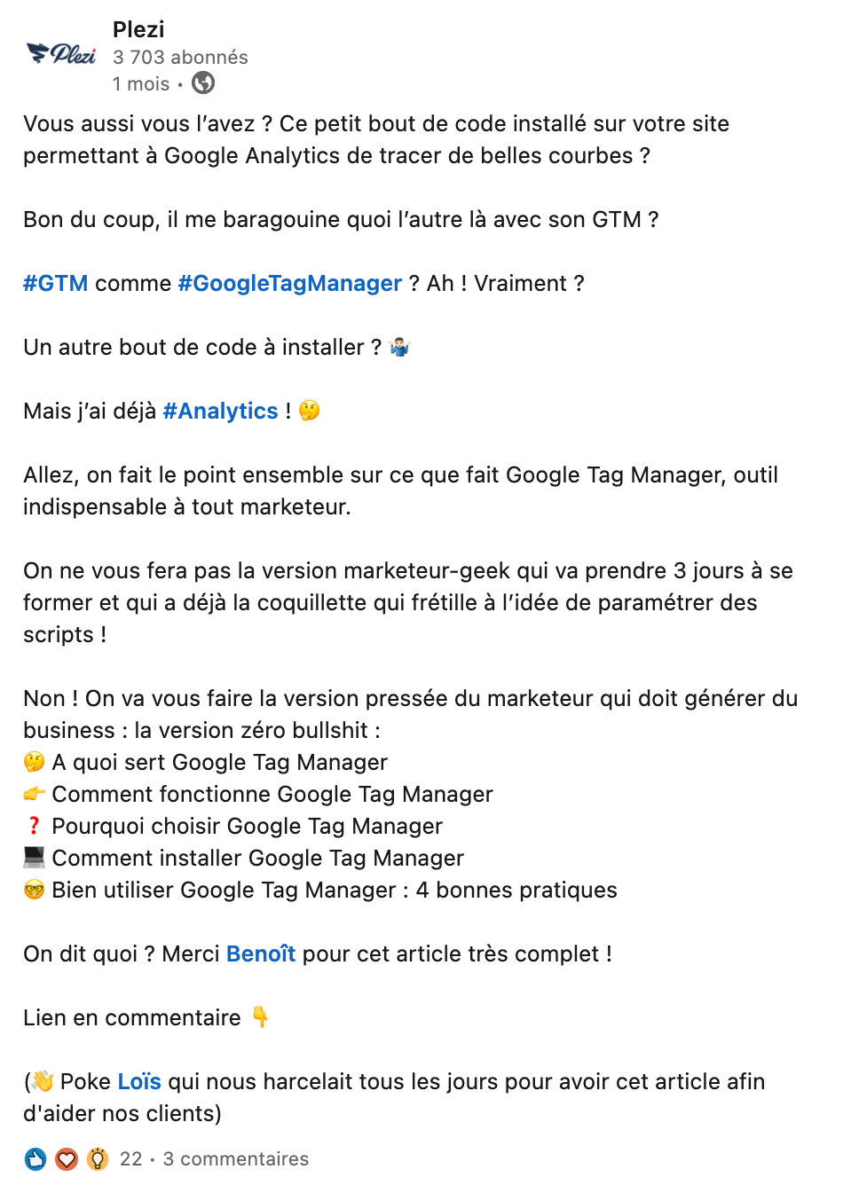 Post LinkedIn faisant la promotion d'un article de blog Plezi