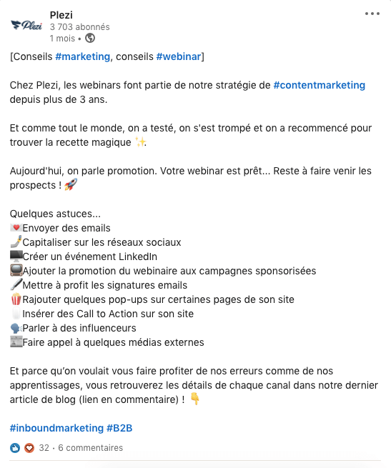 promotion d'un article de blog B2B dans un post LinkedIn