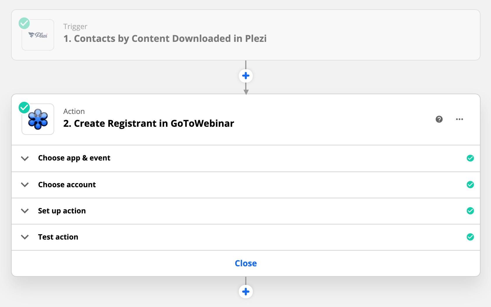 configuration de la Zap entre Plezi et Go To Webinar