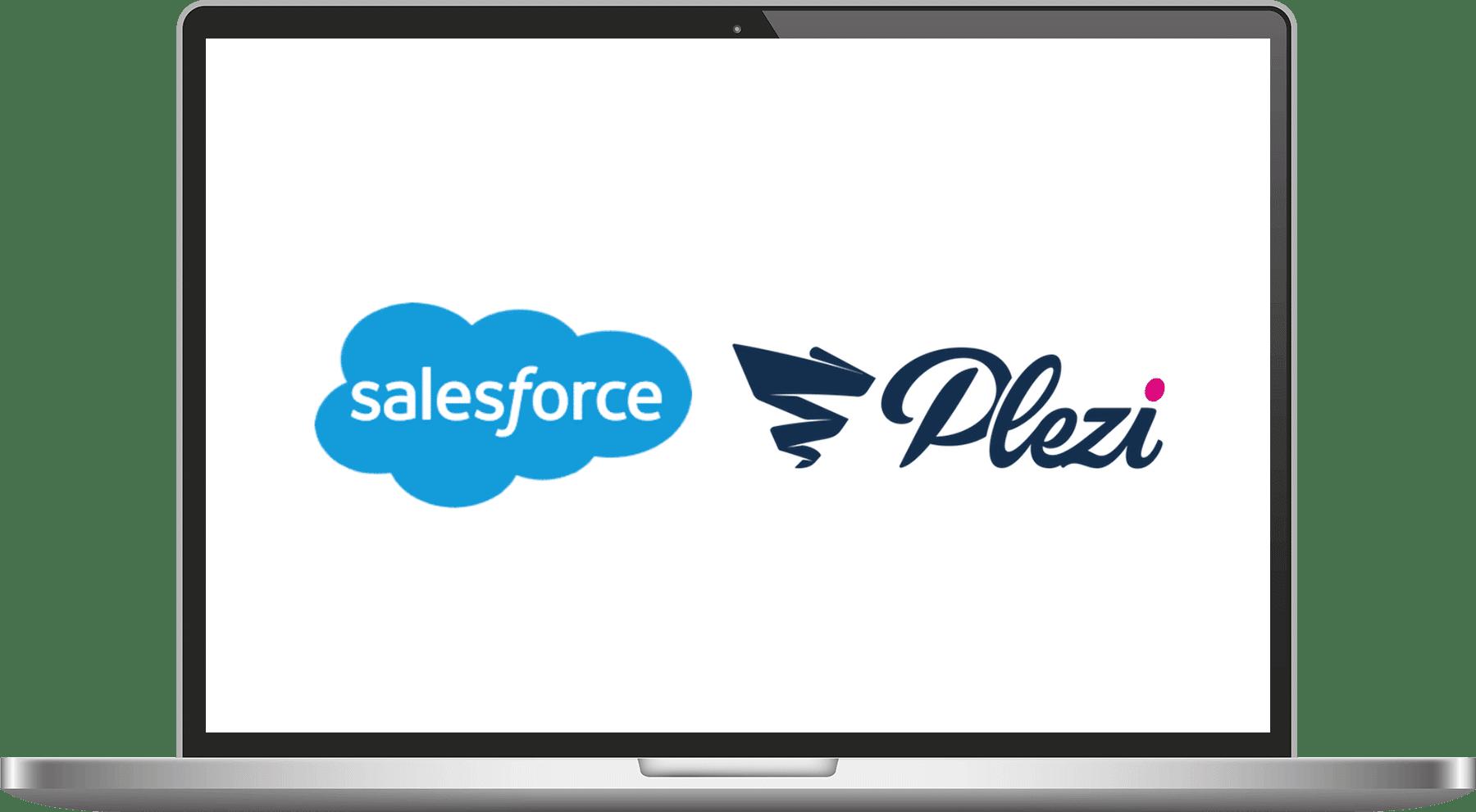 ecran illustrant le webinar de Plezi sur la synchronisation avec Salesforce