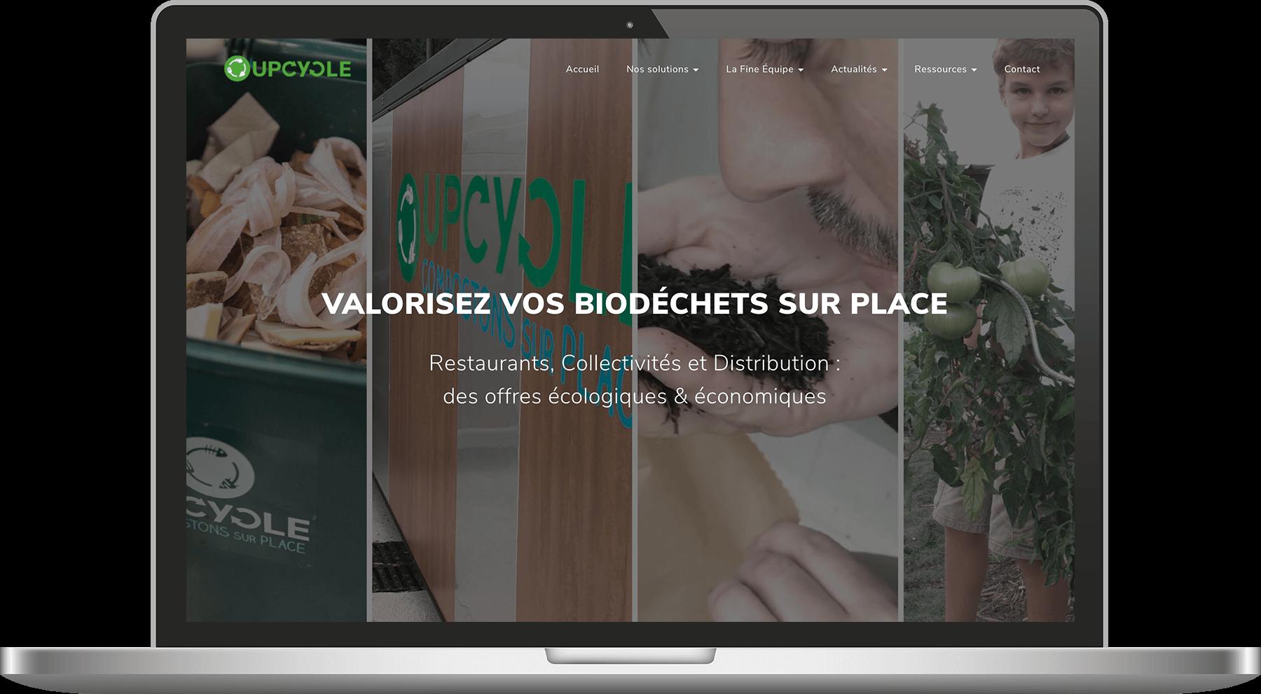 ecran présentant le site web de upcycle