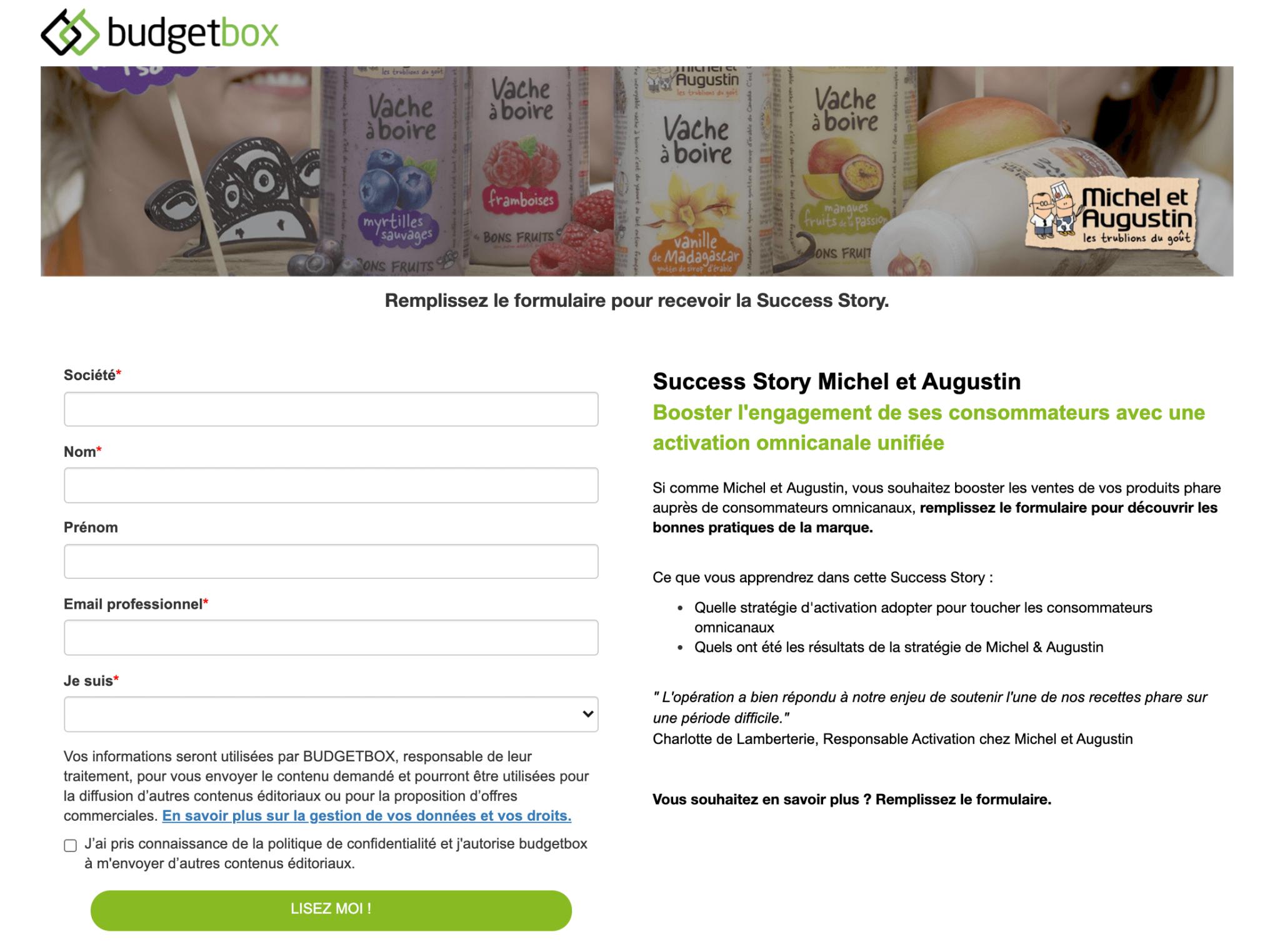 landing page permettant de télécharger un cas client b2b de budget box