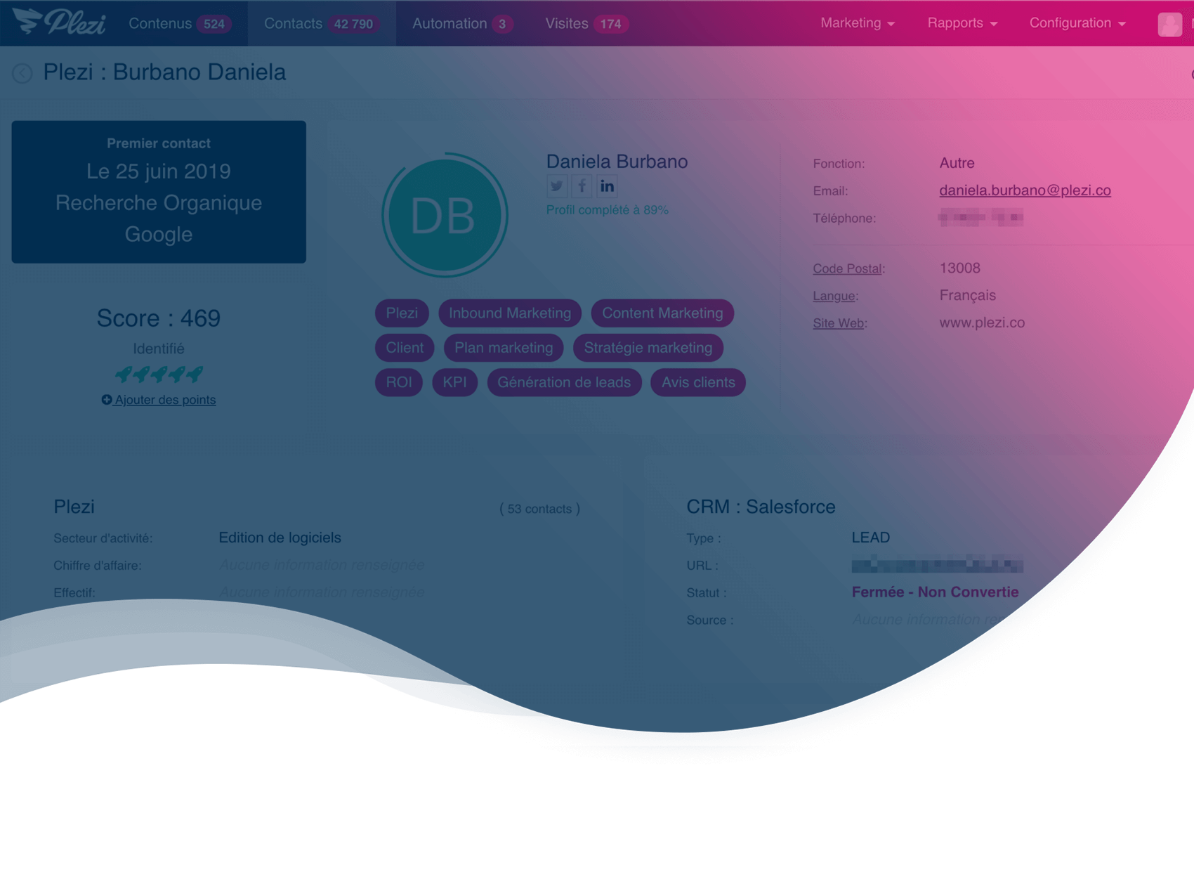Fiche contact Plezi: tout ce que vous voulez savoir sur vos prospects B2B