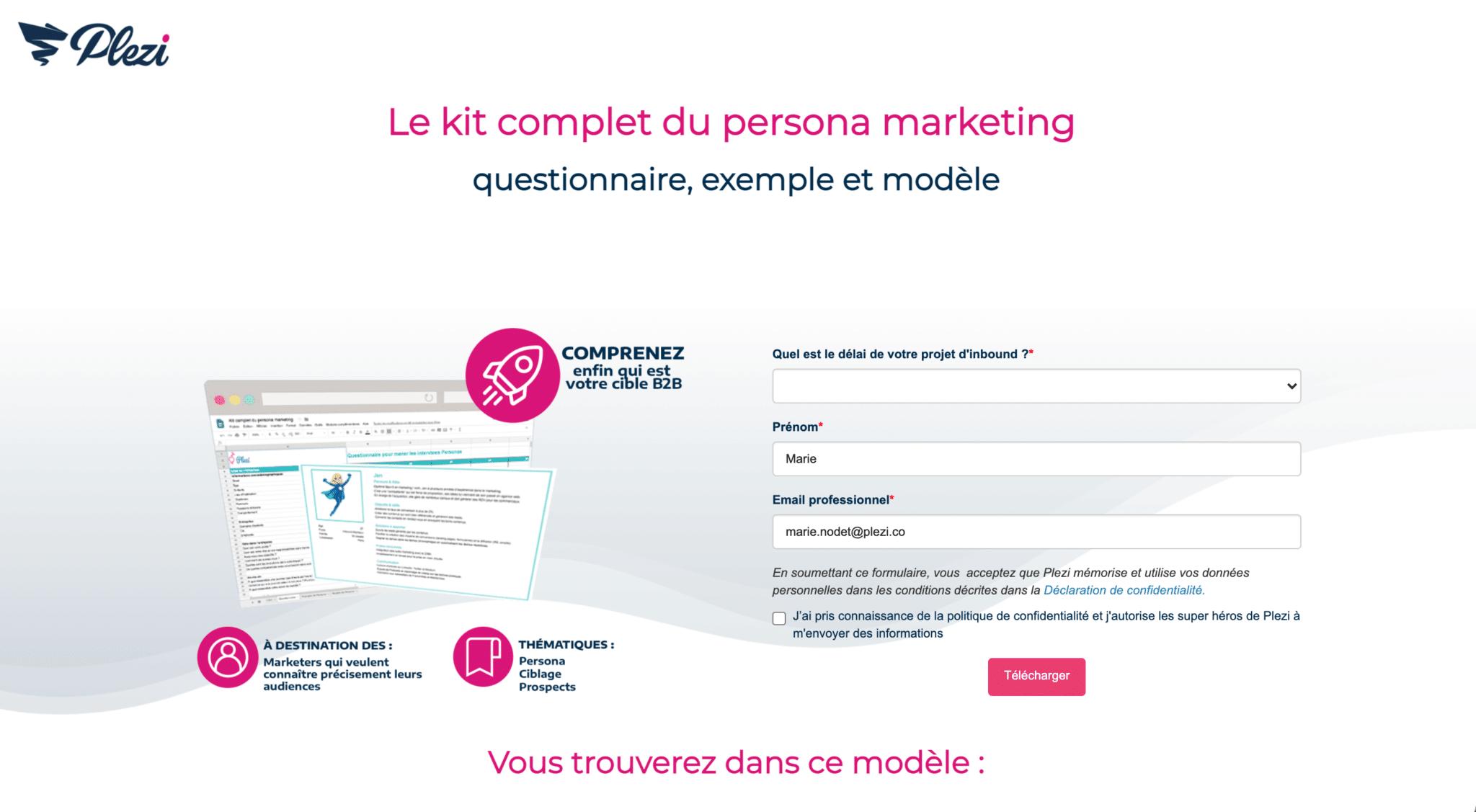 exemple d'un kit marketing à télécharger pour réaliser ses personas marketing