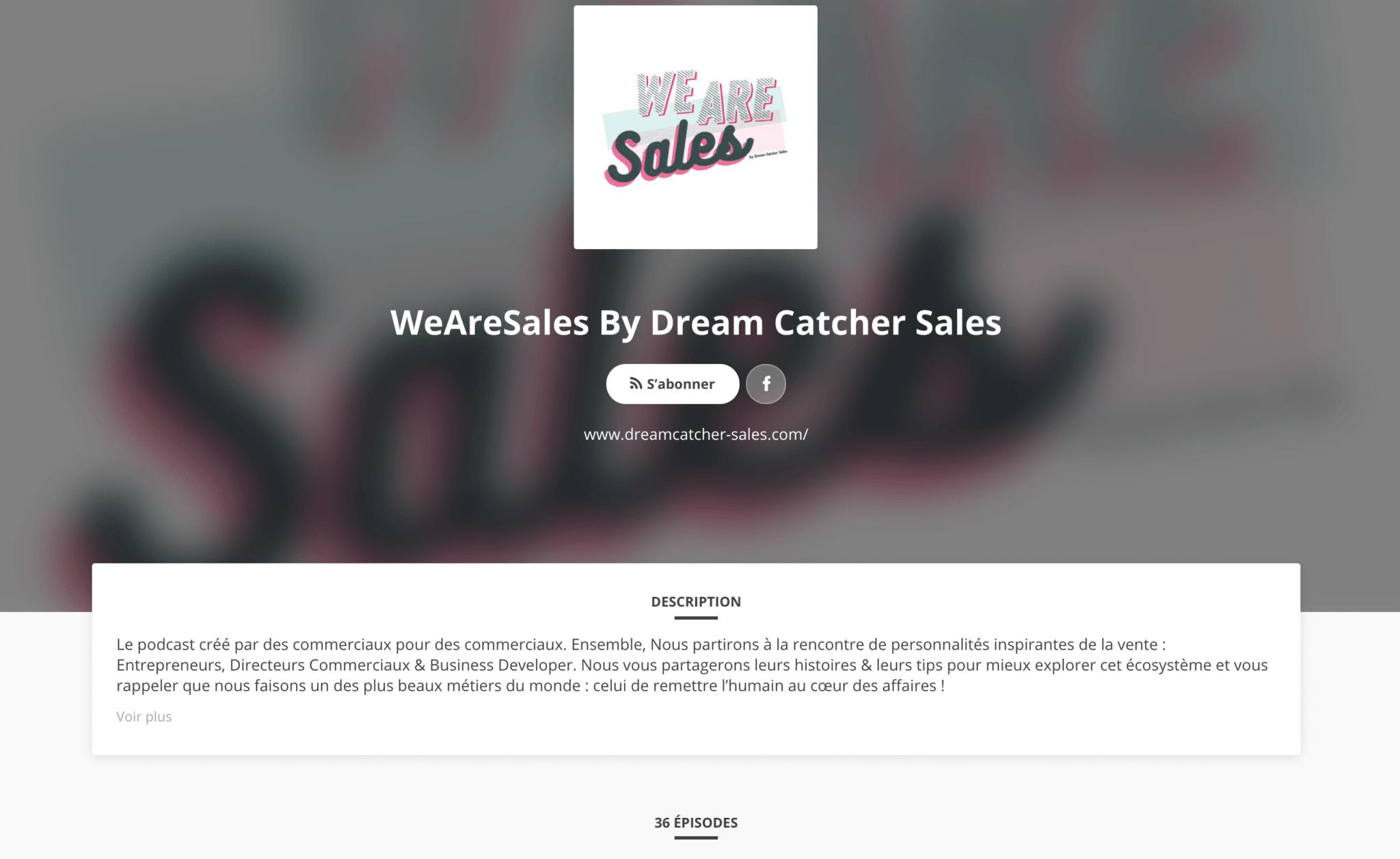 Podcast We are sales produit par Dream Catchers