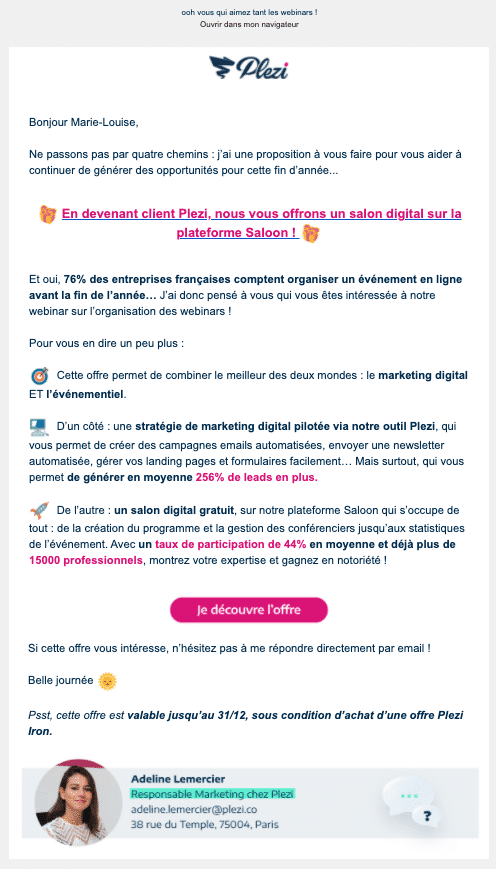 exemple email offre spéciale