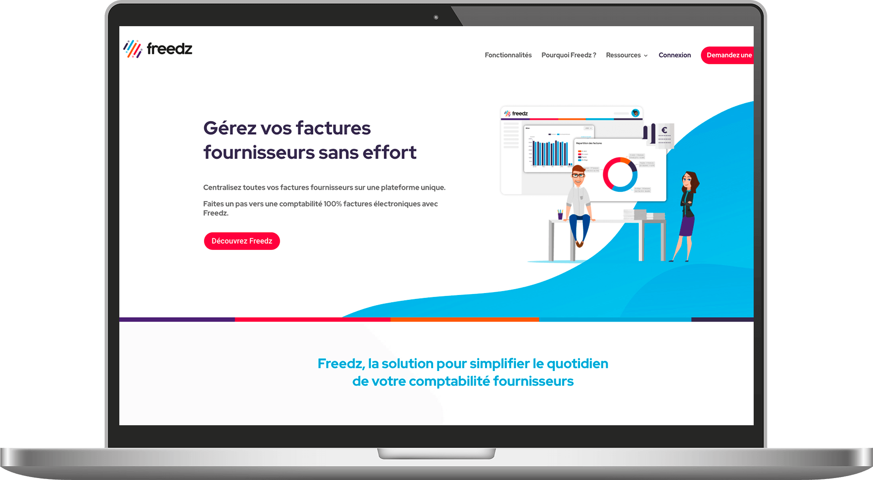 Ecran de la page d'accueil du site web de Freedz