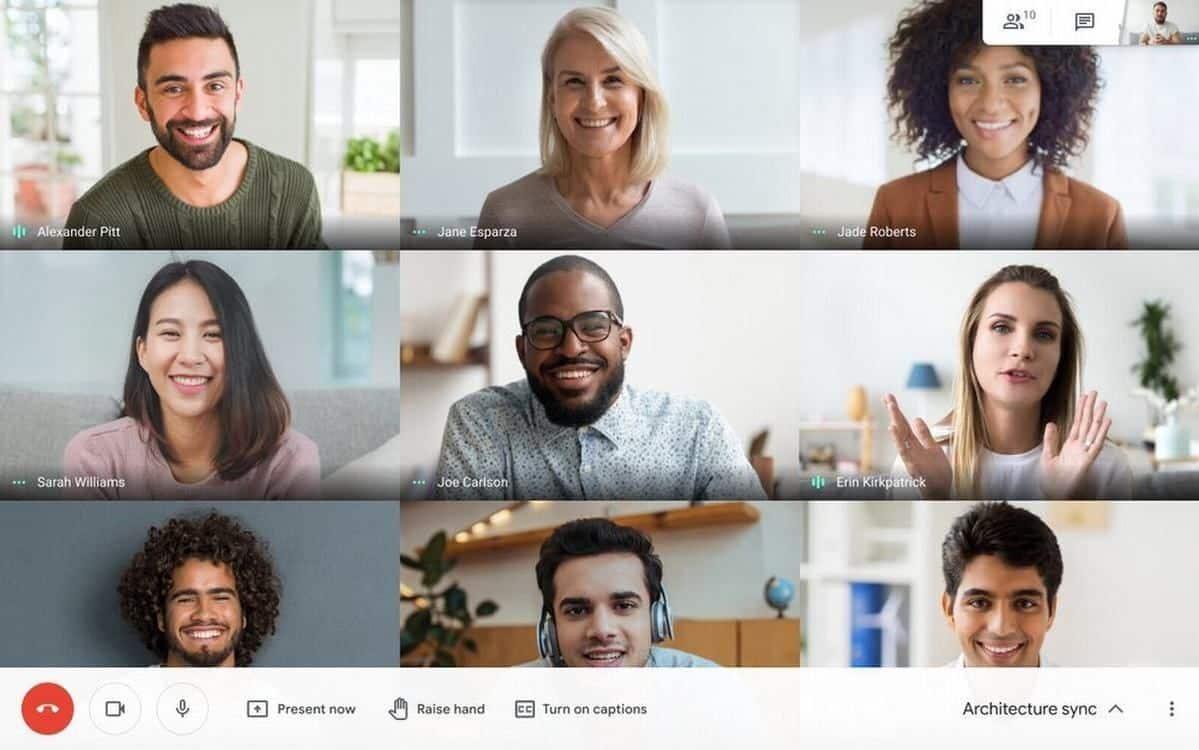 Capture d'écran d'une réunion Google Meet