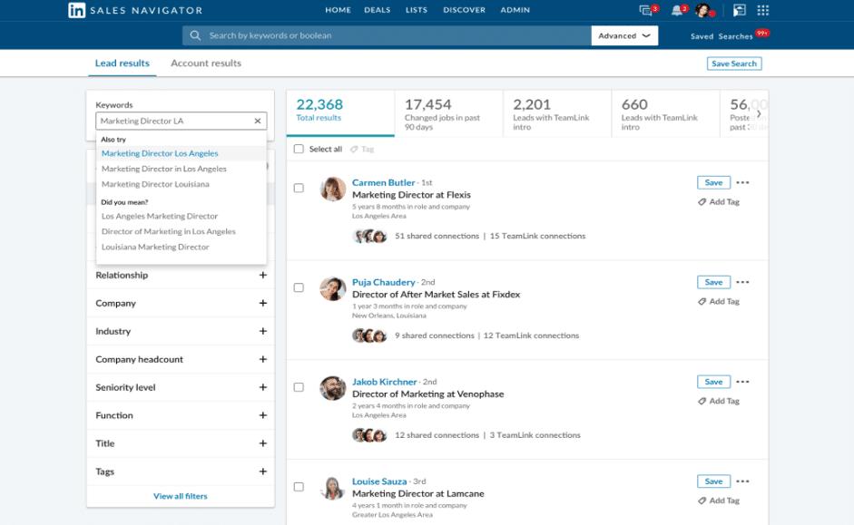 Capture d'écran d'une page contact Linkedin Sales Navigator