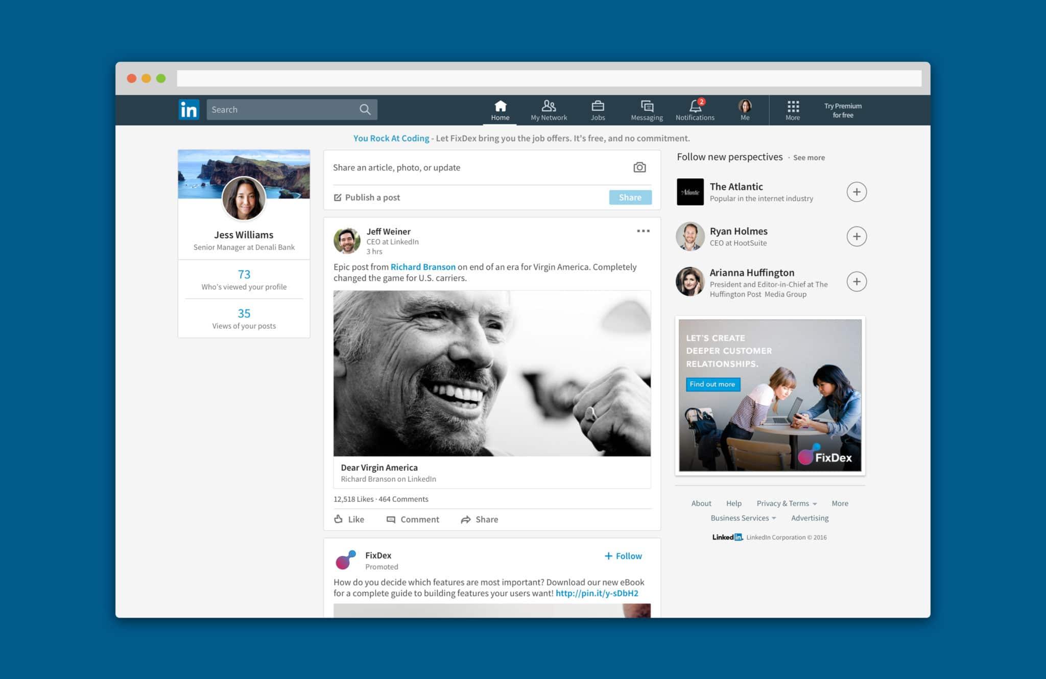 Capture d'écran d'un fil d'actualité LinkedIn