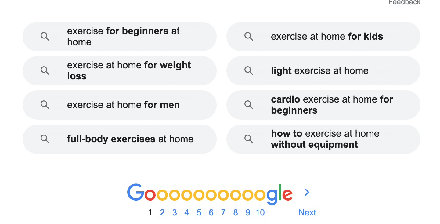 Google search exercise at home