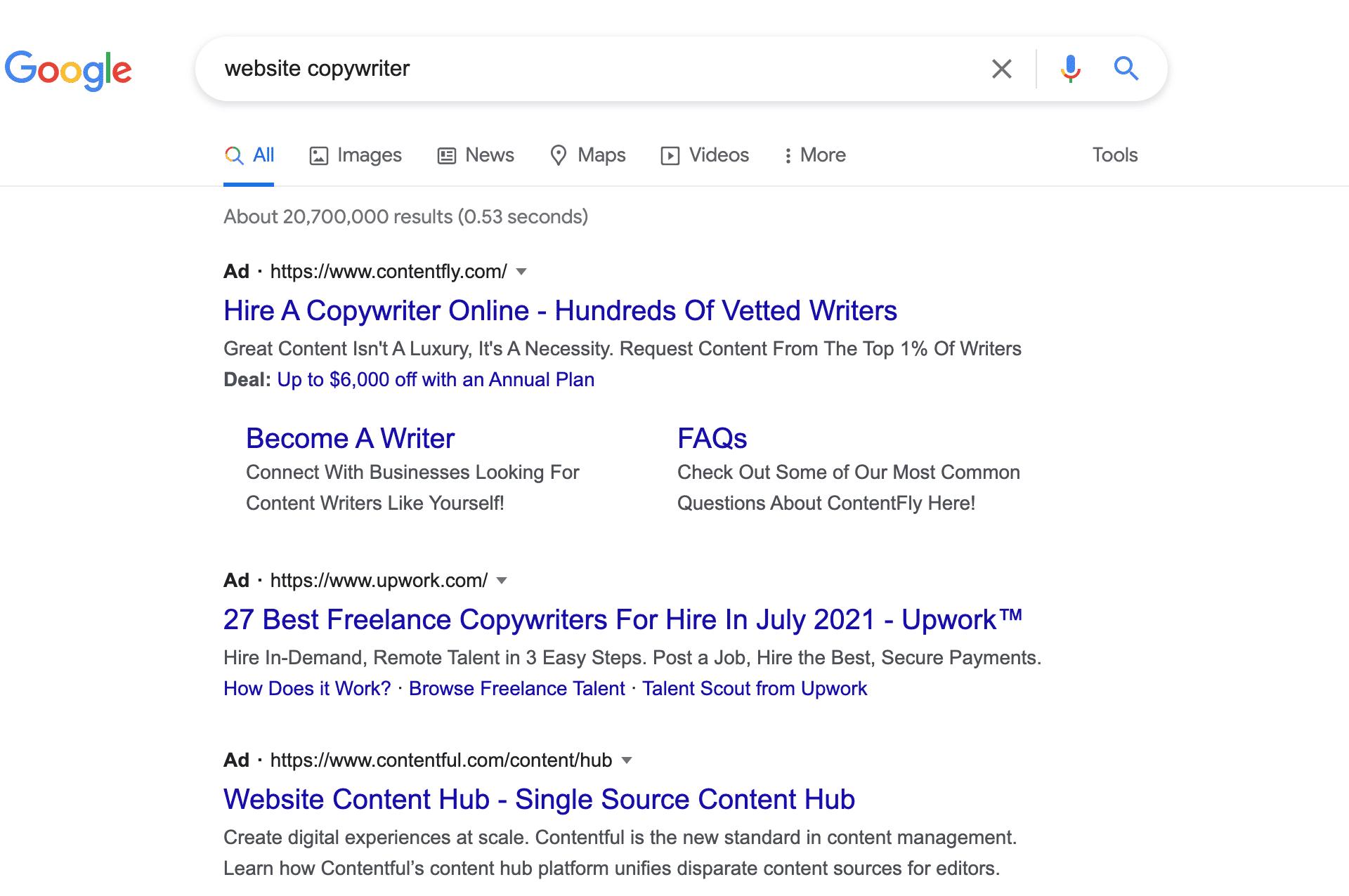 Google website copywriter