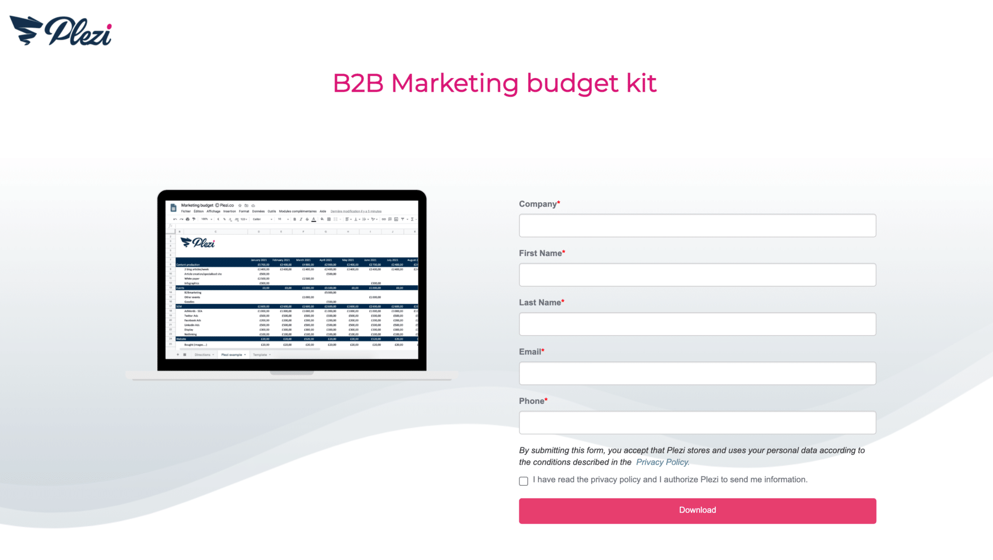 Marketing budget kit