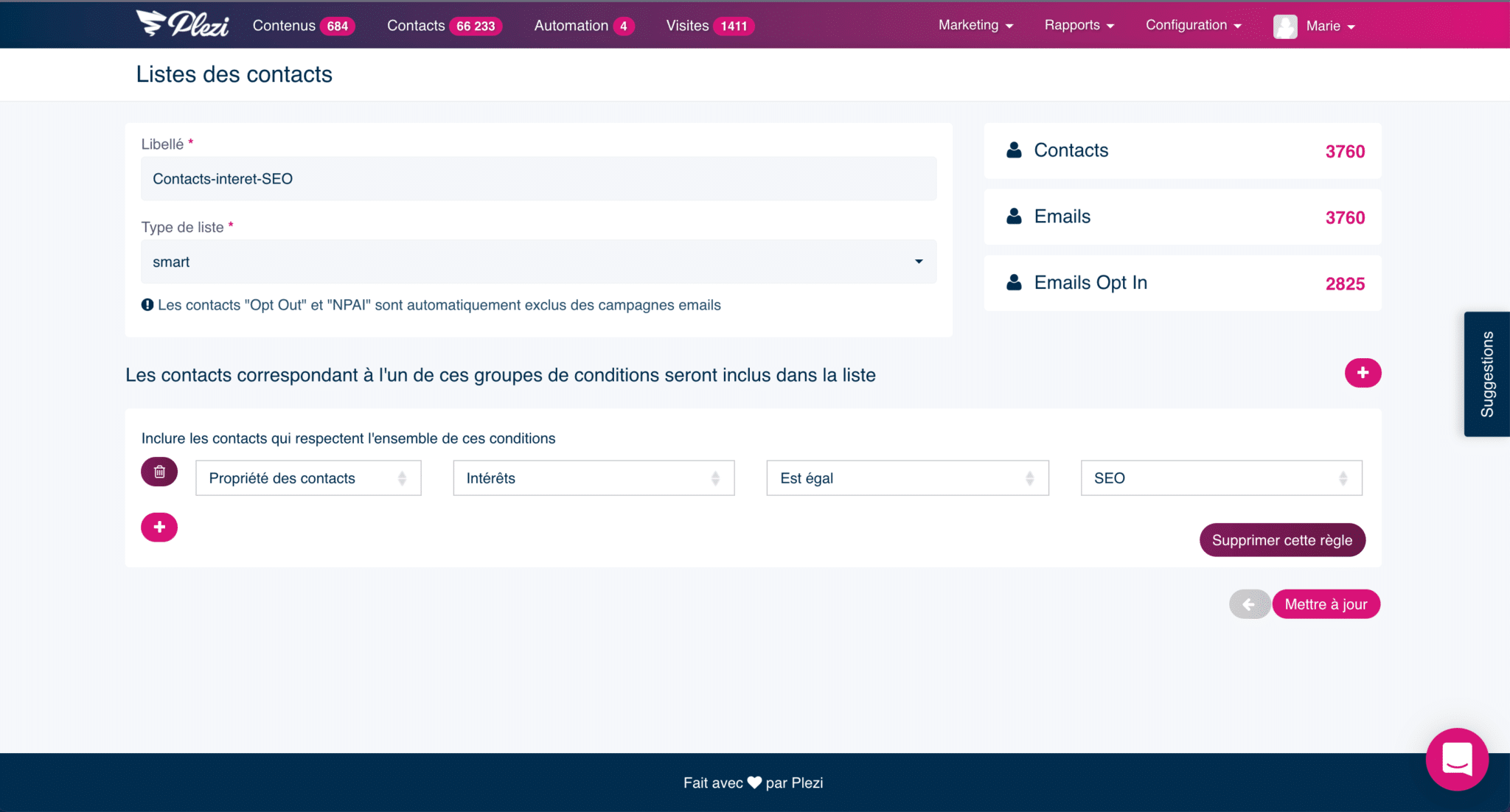 segmentation des leads dans une liste de contact sur Plezi