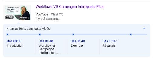 Capture d'écran de l'inclusion de time stamps / temps forts sur la vidéo Youtube Campagne Intelligente de Plezi