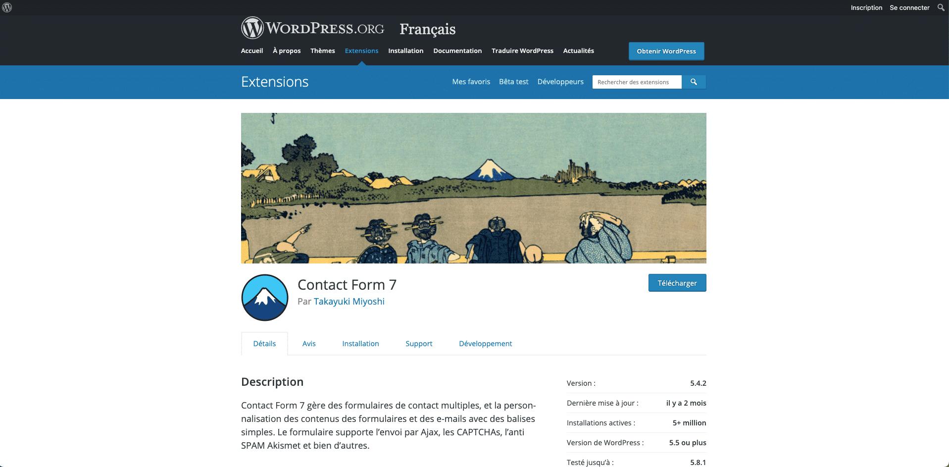 Page d'accueil du site de Contact Form 7