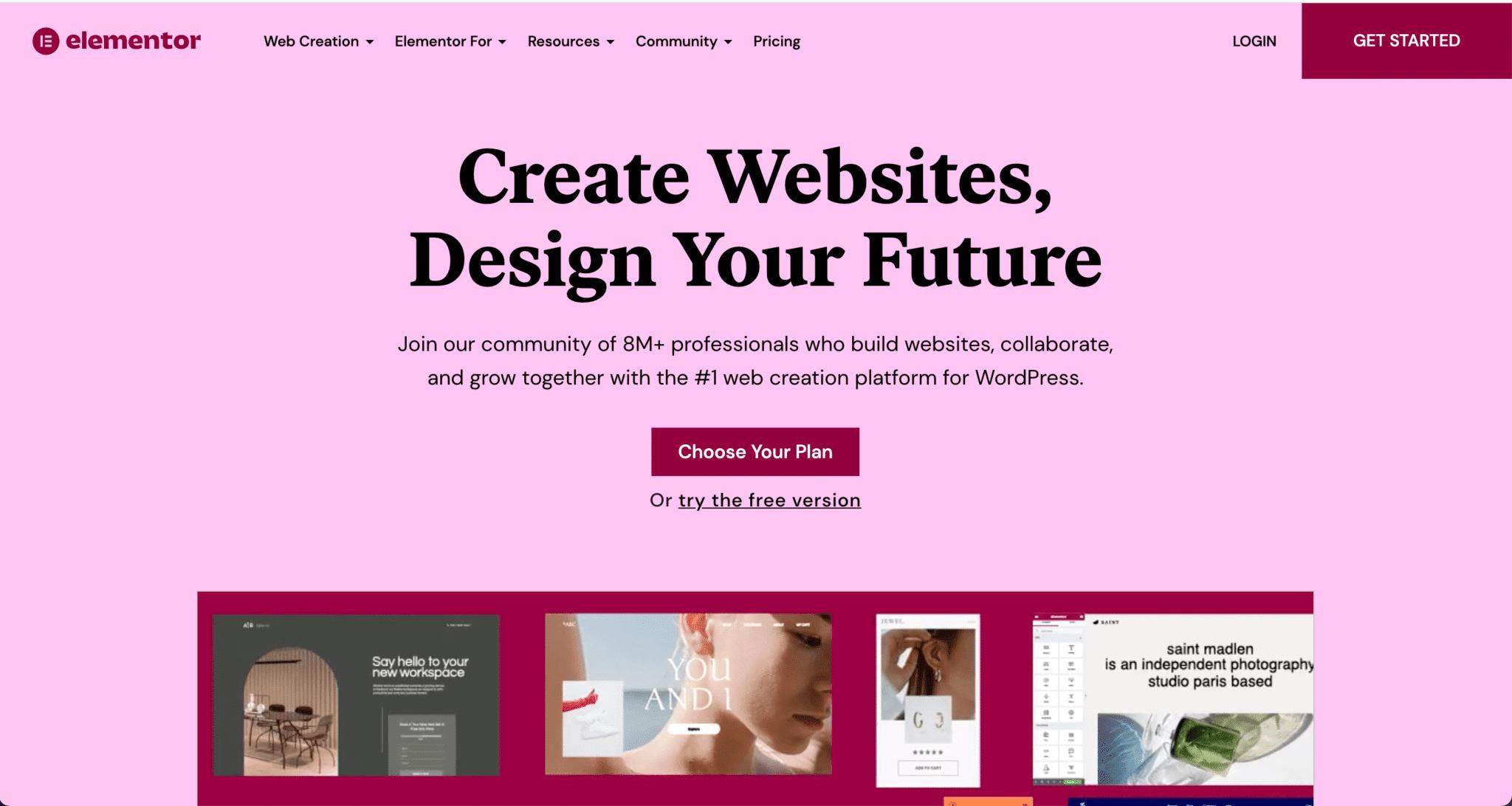 Page d'accueil du site web de l'outil Elementor
