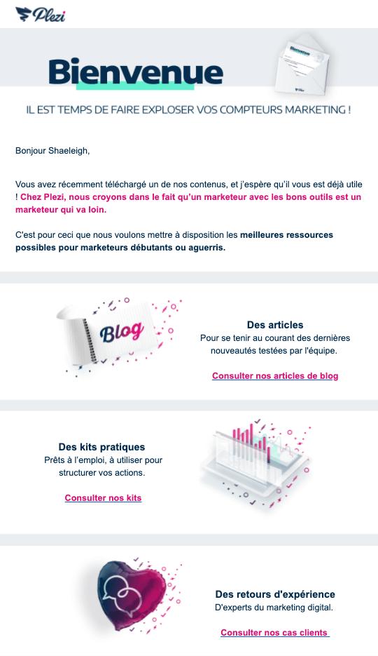 Présentation des ressources Plezi dans l'email de bienvenue envoyé aux nouveaux contacts