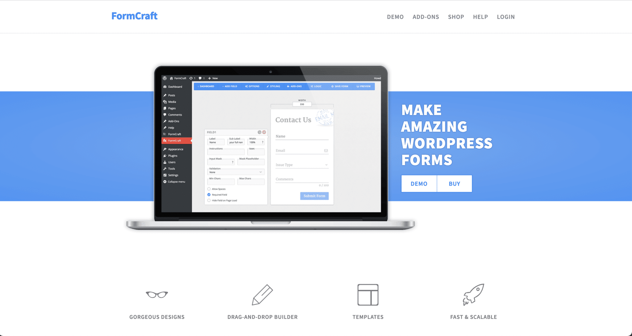 Page d'accueil du site de Formcraft