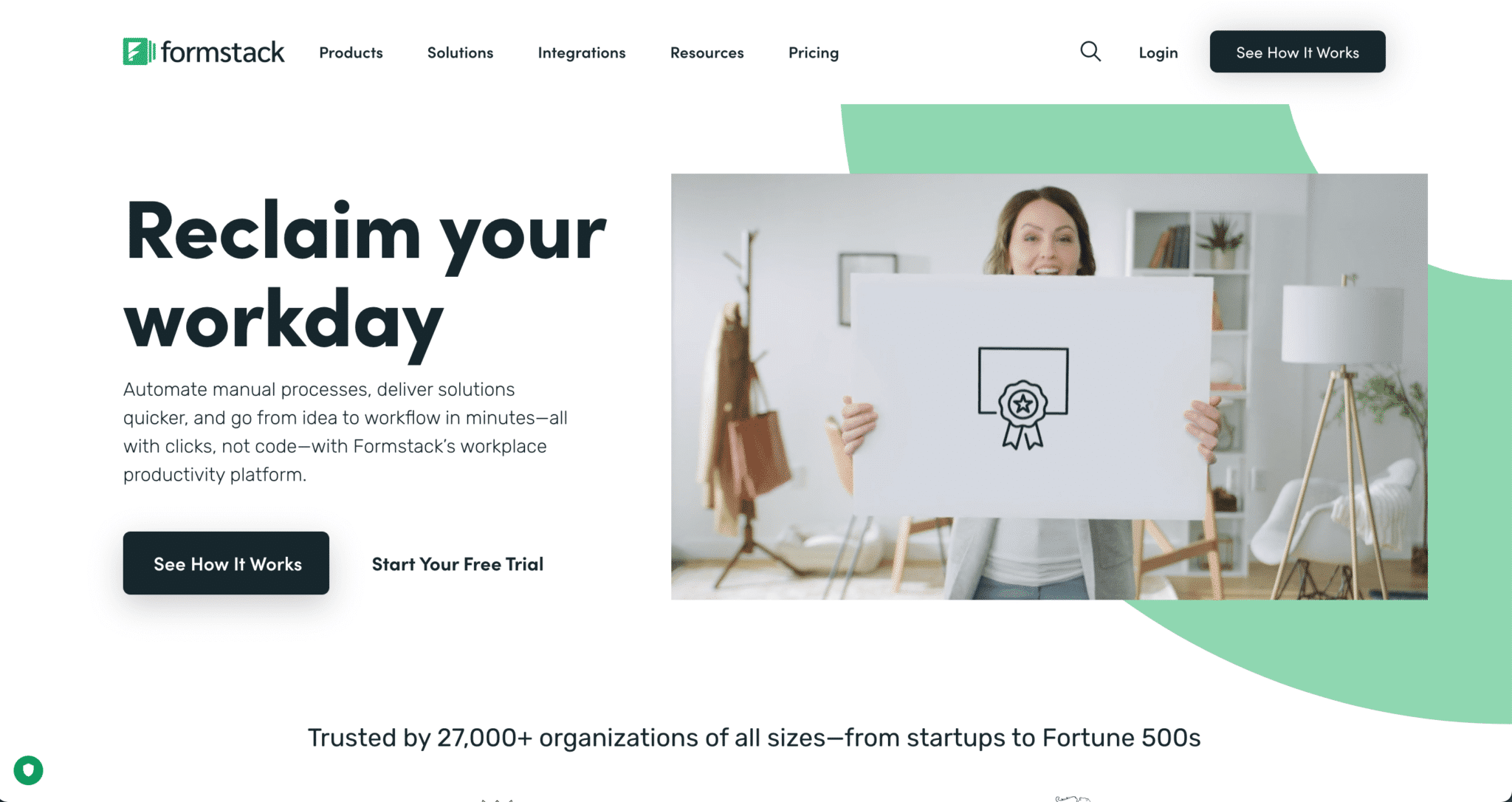 Page d'accueil du site de Formstack