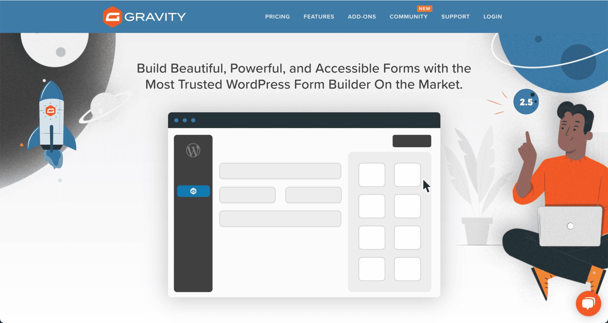 Page d'accueil du site web de l'outil Gravity Forms