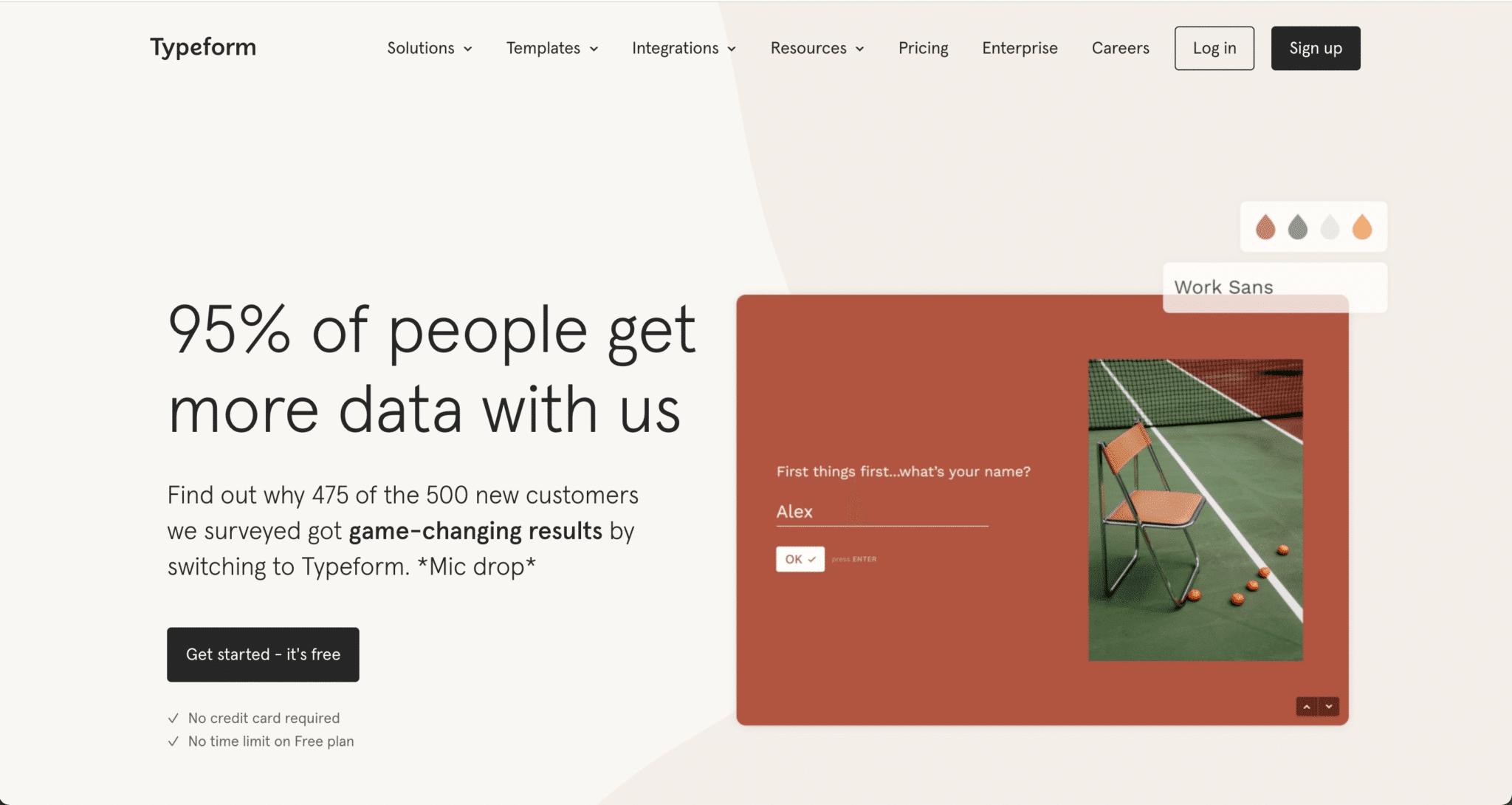 Page d'accueil du site web de Typeform