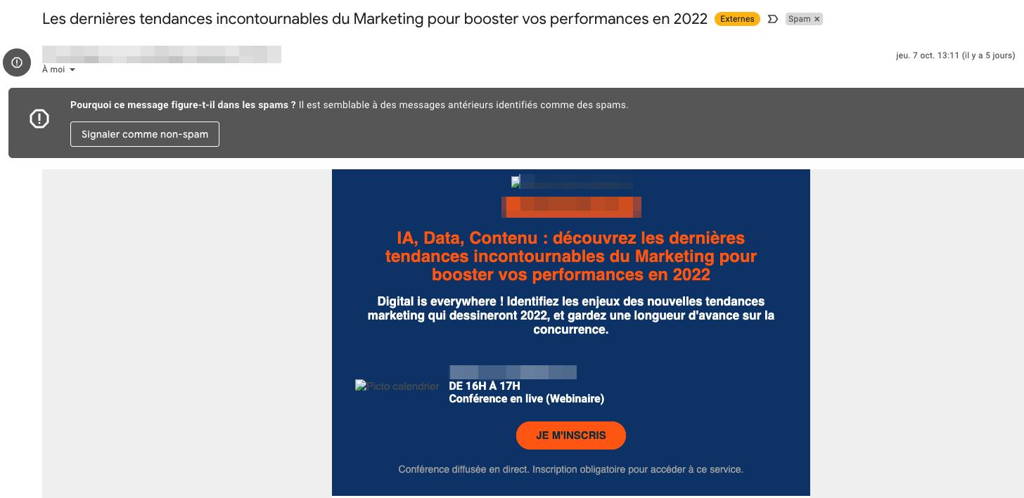 Exemple d'un email catégorisé comme spam à cause des mots contenus dans son objet